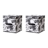 ГАРНИТУР Коробка с крышкой - черный/белый цветок  - IKEA