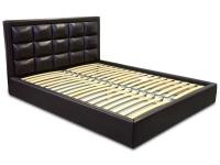 Двуспальная кровать с мягким изголовьем МВС Итака 160х200 см (Gerra Dark Brown)
