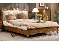 Двуспальная деревянная кровать с мягким изголовьем Мебус Палермо 160х200 см (низкое изножье)