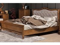 Двуспальная деревянная кровать с мягким изголовьем Мебус Палермо 160х200 см (высокое изножье)