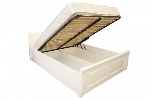 Двоспальне дерев'яне ліжко Лаура 160х200 см з підйомним механізмом в білому кольорі МВС