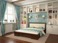 Двуспальная деревянная кровать с мягким изголовьем Арбор Древ Регина 160х200 см
